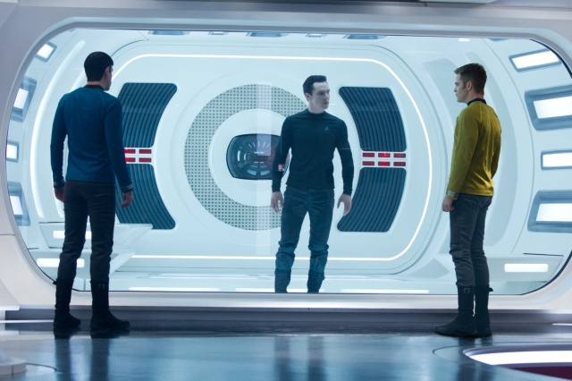 Spock (Zachary Quinto), Harrison (Benedict Cumberbatch) and Kirk (Chris Pine)