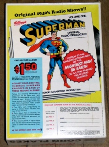 Back of Corn Flakes box that advertised the Superman record